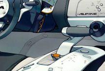 Sketches automotive interior