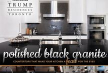 "Trump Residences Toronto - ""Bachelor Suite"" / We are proud to have fabricated and installed these distinguished granite countertops in the kitchen, and leathered granite countertops in the bathrooms of the ""Bachelor Suite"" at Trump Residences Toronto."