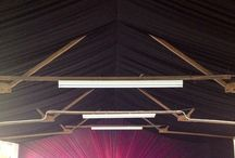 Our Warehouse / Black pleated ceiling in brushed cotton, to help hold heat in. Pink organza wall fan out, with black backing to highlight to two tone effect