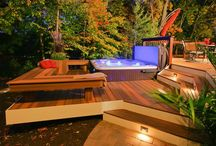 Decking and spa pool area