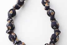 Fabric covered bead Necklaces / Fabric covered bead Necklaces