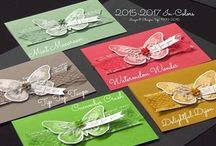 New SU! In Colors 2015-16 / Every year Stampin' Up! comes out with Five New In Colors.  These colors are trending and fun and only available for two years.  You can find ribbon and other accessories to match them. / by Linda Bauwin - CARD-iologist