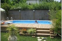 Outdoor garden and pools