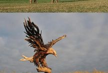 Sculpture from natural and found materials / Artists breathe life into driftwood, twigs, stones and the detritus of modern life