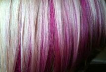 Hair with purple streaks