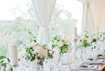 Italian Wedding / September 2016, 5 days in Tuscany, soft, neutral theme. Outdoor wedding, white flowers, rustic table decorations.