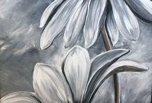 flowers in acrylic