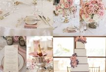 Vintage Romance / Wedding ideas for vintage glamorous look. Blush pinks, creamy ivory, and glitzy gold accents. Soft Lace and satin ribbons.
