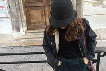 Corduroy skirt and fleece denim jacket