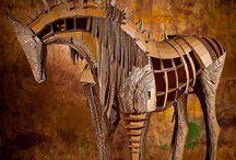 cardboard sculpture by Kamila Karst / cardboard horses