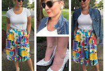 Child's play / H&m tee Thrifted skirt Steve Madden grommet pumps Vintage Calvin Klein denim jacket Bold lip Short hair