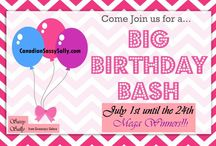 Birthday Bash Giveaways!! / Giveaways Galore - #SassySallysBBGiveaways starts on July 1st, ends on July 24th (MY BDAY!). Minimal 70 winners and YOU CAN WIN MORE THAN ONCE!!! For more info, click here:  http://canadiansassysally.com/birthday-bash-giveaways/ ***MUST BE A BLOG FOLLOWER!!***