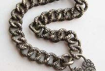 Bracelet Chains - Vintage Charms & Bracelets / Ornate and beautiful vintage charm bracelet chains, Pocket watch fobs and bracelet jewelry chain, uhrkette