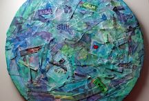 Mixed media and altered art with ribbons / Mixed media pieces and Altered art that features ribbon