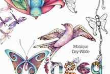 Colouring Books by Monique Day-Wilde / 32 Hand drawings to colour in - A5 format, published by Metz Press.