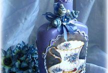 μπουκαλια μπλε μωβ ντεκουπαζ