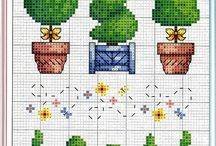 cross stitch Flowers and Trees
