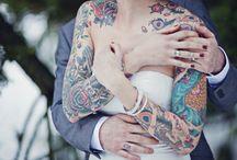 love and marriage / tattooed wedding, rock and roll wedding, bride on a budget, boho wedding, bohemian wedding, rustic wedding, tattooed bride, barn, country, classic, simple wedding / by beth