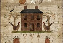 PRIMITIVE COUNTRY FOLK ART HOUSES / A SIMPLER TIME