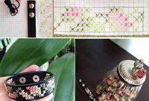 rose - cross stich leather bracelet