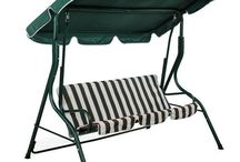 Garden Swing Hammock 3 Seater Bench Swinging Chair Green White Striped Lounger