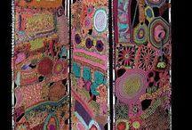 вышивка, вязание в интерьере
