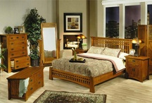 Mission Furniture / Solid oak mission beds, dining tables and chairs