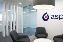 Aspen Pharma - Design & Build / We were delighted to have been selected to design and build the space of Aspen Holdings' office in Bell Street, Maidenhead. The client requested a bright, airy, functional space reflective of the industry they are in. The interior design project consisted of a reception area, open plan work areas, meeting rooms, telephone booths, and a centralised breakout and soft meeting space.