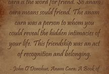 Anam Cara ~ John O'Donohue / The Wisdom of Irish philosopher, poet & scholar John O'Donohue.  In Gaelic Anam means Soul, Cara is Friend. A Soul Friend is a person to whom you could reveal the hidden intimacies of your life. This friendship is an act of recognition & belonging, allowing each person to recognise their own inner potential & spirit & reflect that of their partner's. You're joined in an ancient & eternal union with the friend of your Soul that cuts across all barriers of time, convention, philosophy & definition