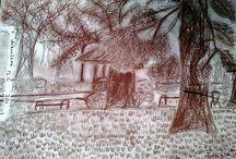 Kresby uhlem, tužkou, ... / vytvořeno vším, čím se dá kreslit