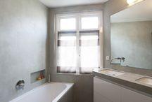 Tadelakt en Betoncire afwerking / Waterwerend stucwerk op wanden van badkamers, en buitenprojecten uitgevoerd door Ecowonen met Tadelakt, Betoncire of Stucdeco