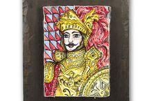 I Miei Lavori/ Мои работы /My works / Sicilian ceramic artistic paintings on Etna lava stone, hand painted/   Сицилийские художественные картины на керамизированной лаве вулкана этна, ручная роспись