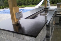 Outdoor Projects / custom granite, quartz countertops for outside projects such as bars, tables and fireplaces.
