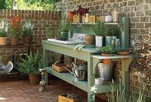 Potting Benches and Sheds / Whimsical, practical, beautiful...any kind of potting bench.  I'm addicted! / by Genea Price Williams