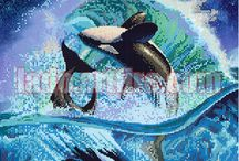 Fish, orca, dolphins bead embroidery diy kits