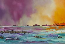 Hebridean Abstract Atmospheric Paintings & Prints / Abstract atmospheric paintings & prints of The Hebrides in oil paint, spray paint and acrylic by Scottish landscape Artist Andy Peutherer