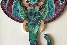 Quilled elephant head