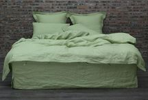Linen Bedding in Green Tea / Soft washed Linen Bedding in Green Tea Color