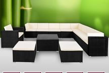 Garden Furniture Set XXL Rattan Patio Sofa Out Door Cushions Coffee Table Stools