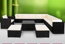 Garden Furniture Set XXL Rattan Patio Sofa Out Door Cushions Coffee Table Stools