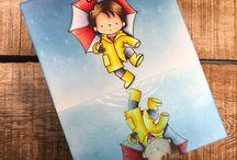 Card dance in the rain stamp