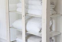 Liinavaatekaappi / Linen closets / Ideoita ja kalusteita liinavaatteiden säilytykseen. Lakanoille, hamam-pyyhkeille, pöytäliinoille.