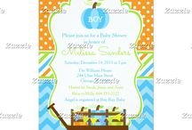 Autumn Fall Pumpkin Wagon Blue Chevron Baby Shower / This collection features a pumpkin and pumpkin wagon. Perfect for fall, autumn and thanksgiving baby showers or any other event. The colour palette consists on blue, bright green and orange. Chevron background with a polka dot ribbon.