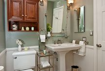 Bathroom Design 51 / A traditional green and white bathroom remodel.