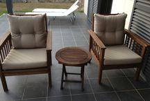 Ref.0025 - Juego de sillones de jardín con mesa de centro de teca