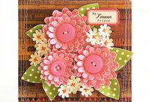 Flowers-Fabric,lace,metal & burlap