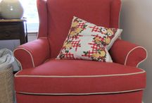 Big Duck Canvas Slipcover / To make this cottage-style slipcover I used a simple 10 oz. cotton duck cloth (canvas) from Big Duck Canvas. The color, Burnt Scarlet, box pleats and hemp welt cord add vintage charm.