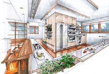 Интерьер кухни (эскизы)