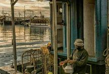 Fishermen, fishing boats,  fishing villages