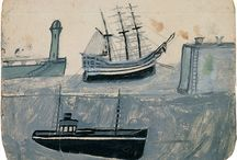 Artist - Alfred Wallis / Alfred Wallis (1855-1942) is one of the most original and inspiring British artists of the 20th Century. Living in St.Ives, Cornwall and with no training, Wallis took up painting late in life 'for company' after the death of his wife. Previously, he had worked as a mariner, crossing the Atlantic and later working smaller fishing boats. With only household oil paint in limited colours on found bits of card, Wallis made works that are, as he said himself, more experiences and events than paintings